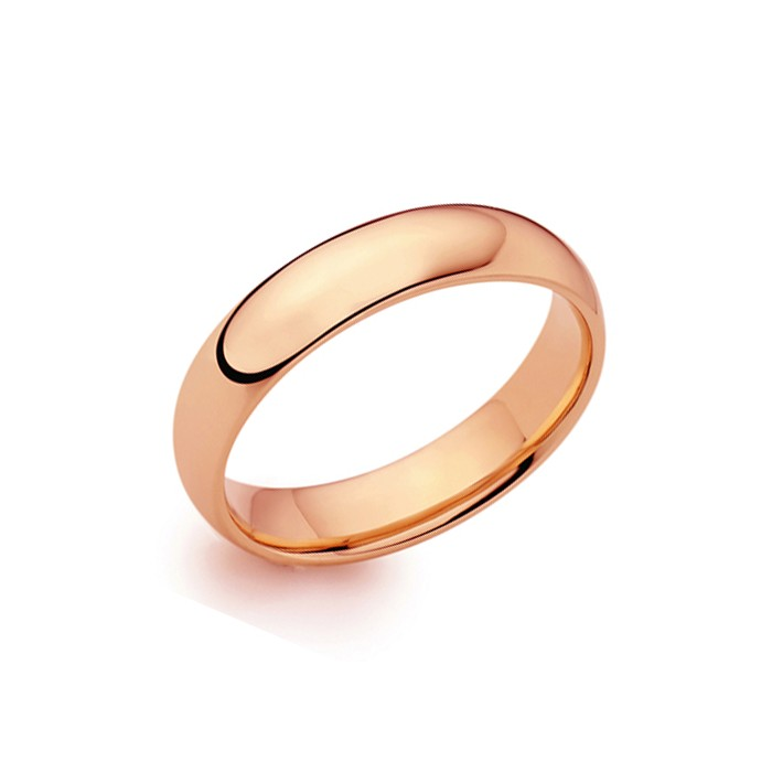 18ct Rose Gold 5mm Deluxe Court Wedding Band - sizes I to O