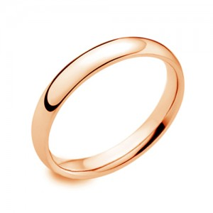 18ct Rose Gold 3mm Deluxe Court Wedding Band - sizes I to O