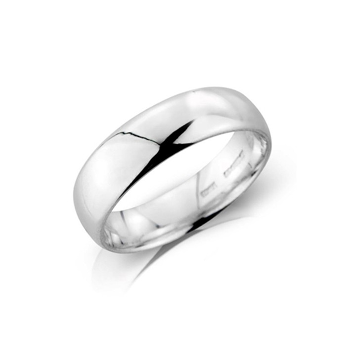 Platinum 6mm Deluxe Court Wedding Band - sizes P to Z