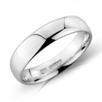 Platinum 5mm Heavy Court Wedding Band - sizes P to Z