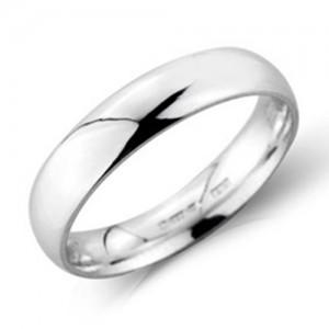Platinum 4mm Light Court Wedding Band - sizes P to Z