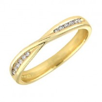 Gold Diamond Crossover Wedding Ring Wedding Band [Save 40% OFF High Street Prices]
