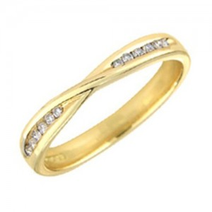 18ct Yellow Gold 12st Crossover Wedding Ring - D:0.09cts