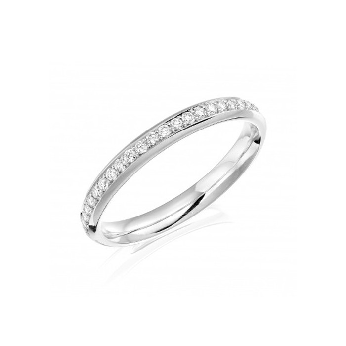 Platinum Hand Chased Diamond Band - 0.40ct