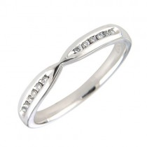 White Gold Crossover Diamond Set Wedding Ring [Save 40% off high street prices]