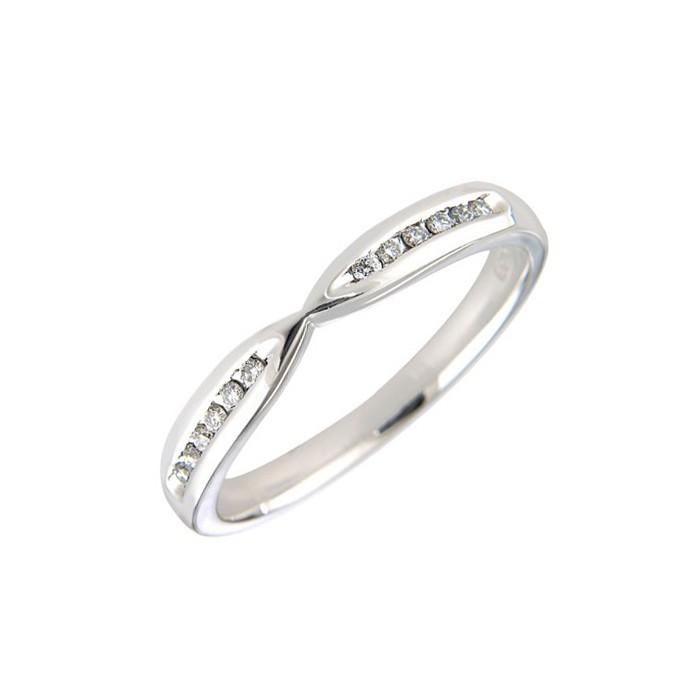 18ct White Gold Diamond Set Shaped Wedding Band - 0.25cts