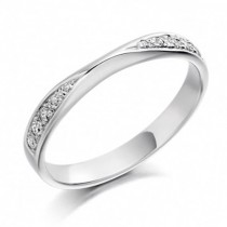 Platinum Crossover Shaped Diamond Wedding Ring [Save 40% off high street prices]