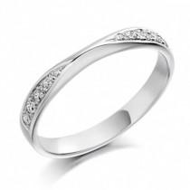 Platinum Diamond Set Straight Shaped Band - 0.15ct