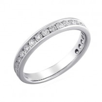 PlatinumThree-quarter Set Diamond Wedding Band - 0.35cts