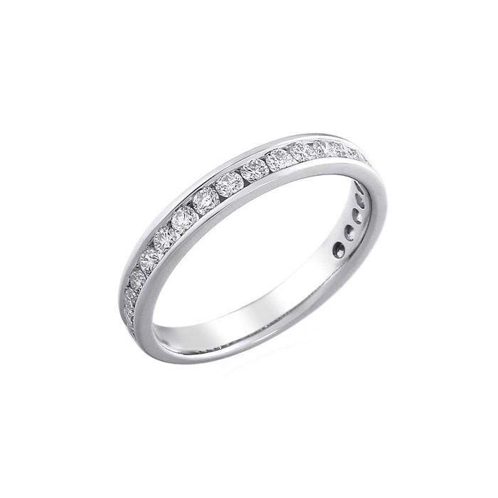 PlatinumThree-quarter Set Diamond Wedding Band - 0.35cts