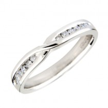 18ct White Gold Diamond Set Shaped Wedding Band [Save up to 40% off high street prices]
