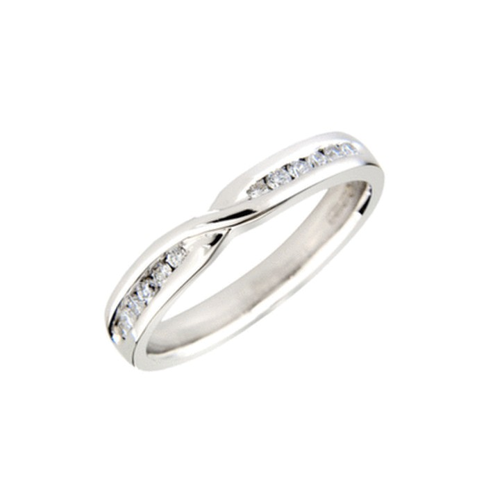 18ct White Gold Diamond Set Shaped Wedding Band - 0.19cts