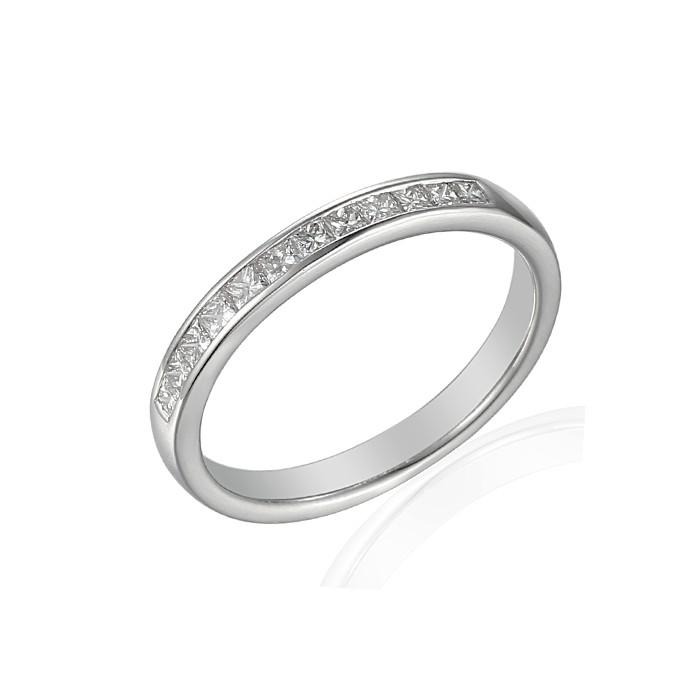 Platinum Princess Cut Diamond Wedding Band - 0.25cts