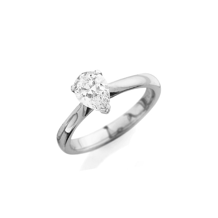 Platinum Pear Shaped Diamond Solitaire Ring - 0.55ct D/SI1