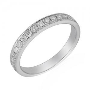 Platinum Half-set Diamond Wedding Band - 0.16 G/VS2