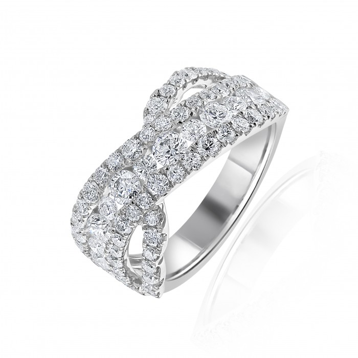 18ct White Gold Four Row Diamond Cluster Dress Ring - 1.90ct