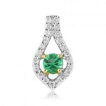 18ct Gold Emerald & Diamond Pendant - E 0.19 D 0.15
