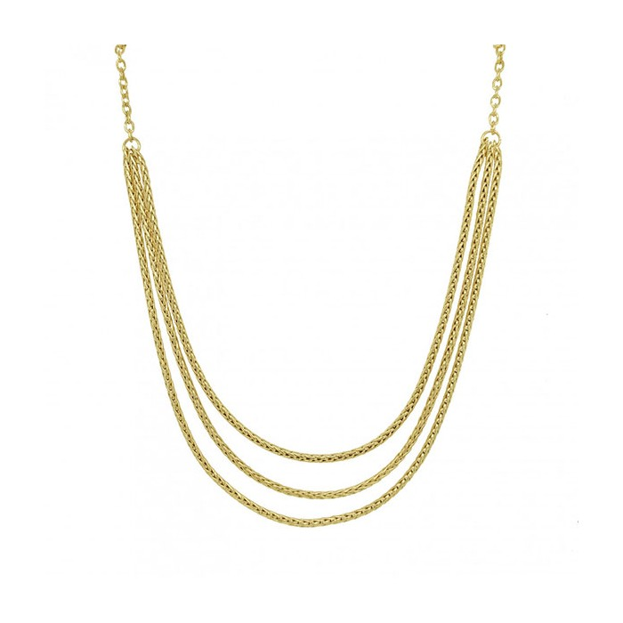 9ct Gold 3 Row Graduated Spiga Chain Necklace