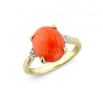 9ct Gold Coral & Diamond Ring