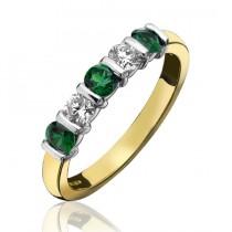 18ct Gold Emerald & Diamond Eternity Ring - E 0.55ct D 0.39ct