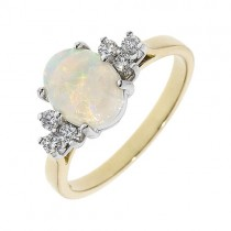 18ct Gold Opal & Diamond Cluster Ring - O 1.01 D 0.17
