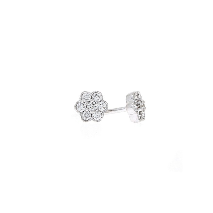 18ct White Gold Diamond Petal Cluster Earrings - 0.25cts