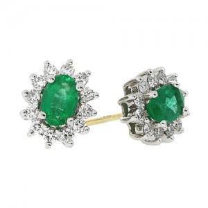 18ct Gold Oval Emerald & Diamond Cluster  Earrings E 0.89 D 0.41