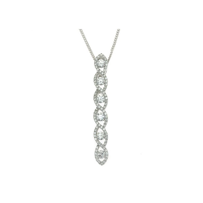 18ct White Gold Micro Pave Diamond Drop Pendant - 0.44cts