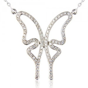 18ct White Gold Diamond Set Butterfly Necklet - 0.28cts