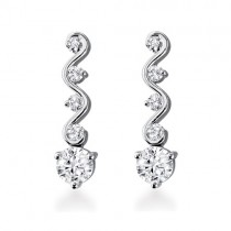Pair 18ct White Gold Wave Drop Diamond Earrings - 1.34cts