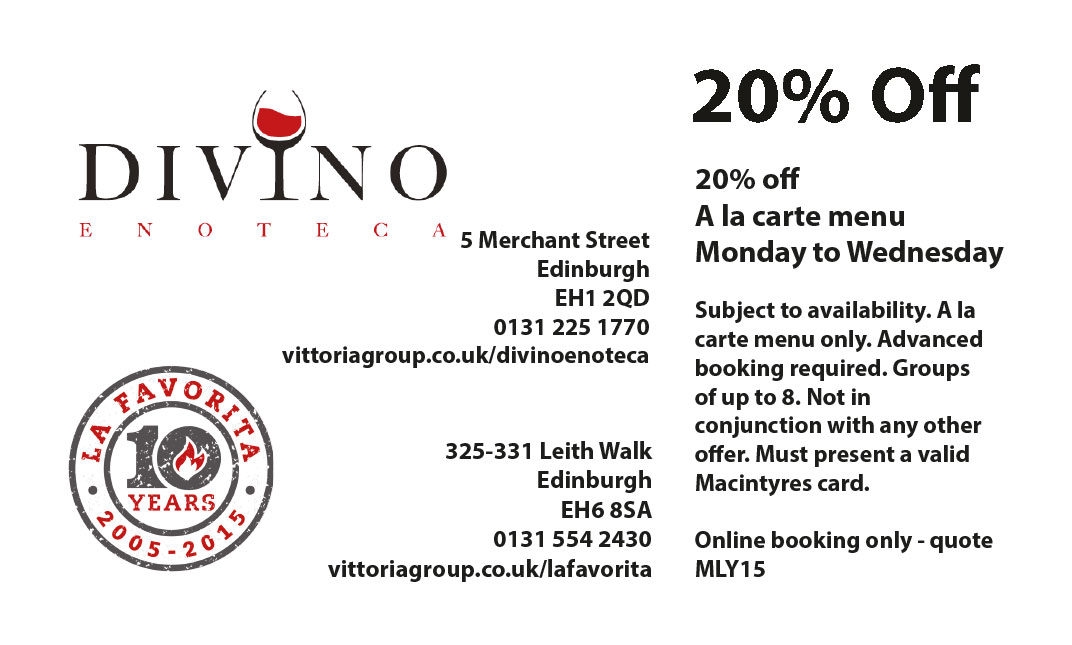Divino La Favorita Edinburgh Discount Offer
