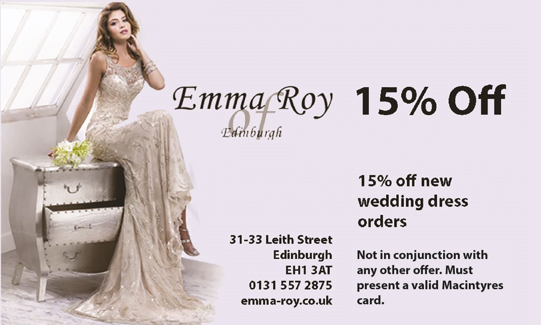 Emma Roy 15% off Wedding Dresses Edinburgh