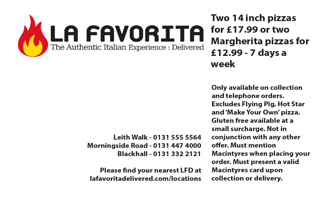 La Favorita Pizza Delivery Edinburgh Discount Code
