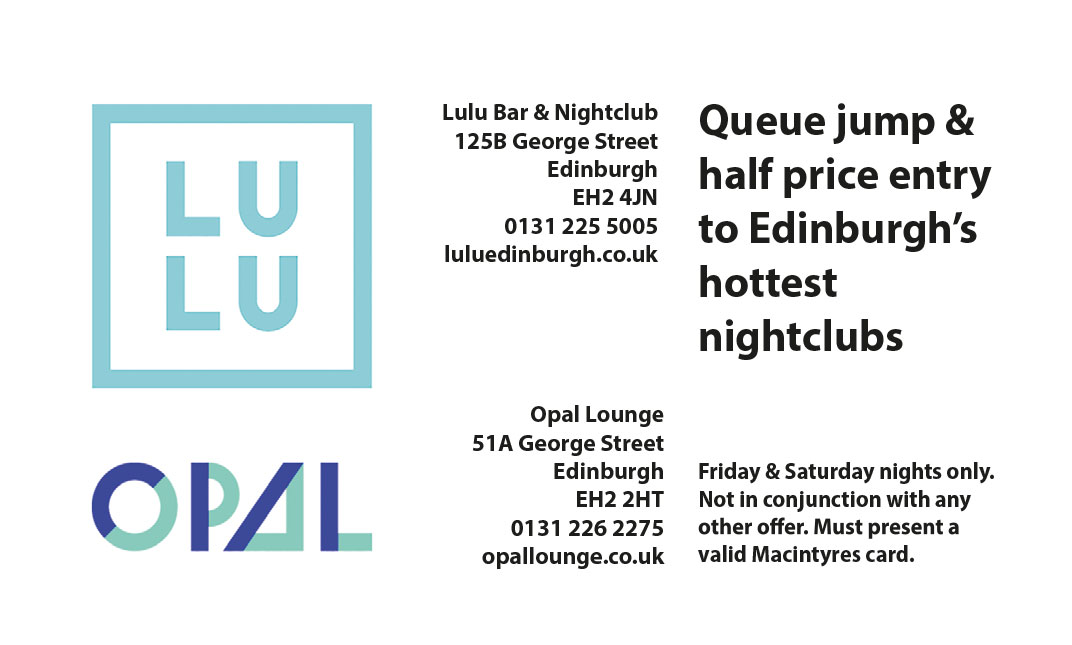 Lulu Opal Bars in Edinburgh Promotions