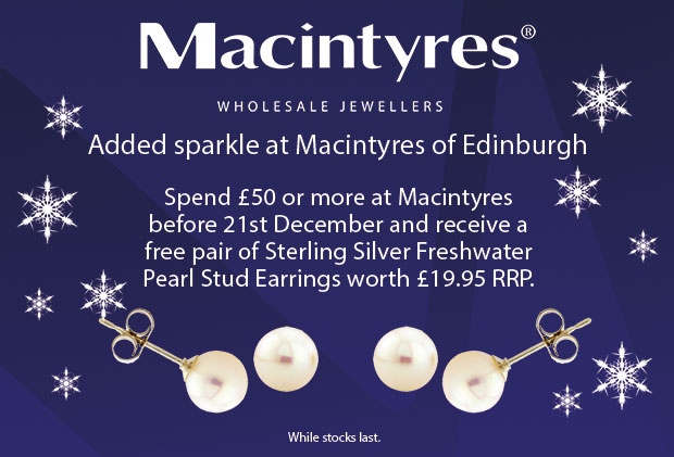 Giveaway - free pearl earrings and UK delivery with every online order over £50 at Macintyres